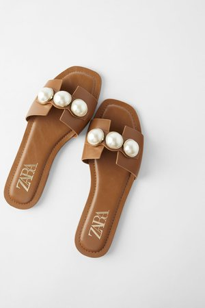 LEATHER SLIDE SANDALS WITH PEARLS   ZARA United States