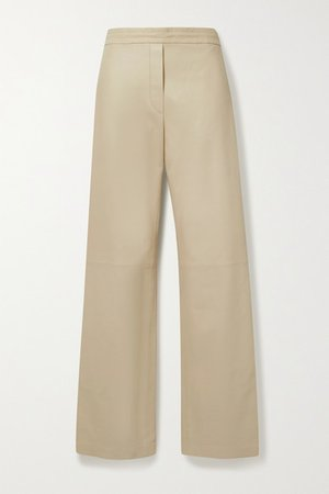 Tristan Leather Straight-leg Pants - Beige