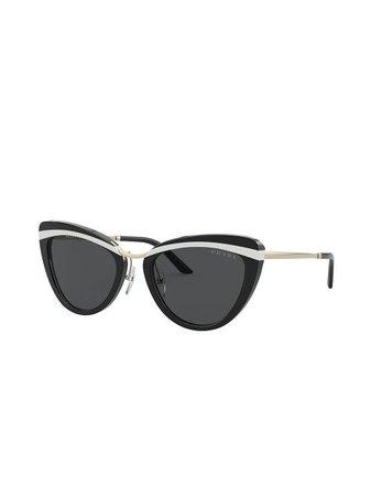 Prada Eyewear stripe-detail cat-eye Sunglasses - Farfetch