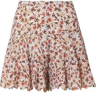 Scalloped Floral-print Georgette Shorts - Off-white