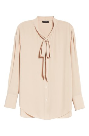Theory Tie Neck Silk Blouse | Nordstrom