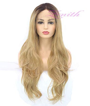 Amazon.com: EALGA Dark Brown Rooted Light Blonde Lace Front Wigs for Women Best Synthetic Hair Wavy Wig with Flawless Hairline 22 inches Heat Safe (Honey Blonde): Beauty