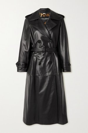 Belted Leather Trench Coat - Black