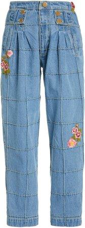 LoveShackFancy Marika Embroidered High-Rise Straight-Leg Jeans