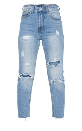 Petite Light Wash Distressed Mom Jeans   PrettyLittleThing USA