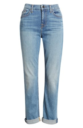 JEN7 by 7 For All Mankind High Waist Crop Straight Leg Jeans (Canyon Coast) | blue