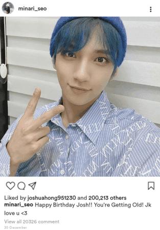 SVT Mina B-day post for Joshua