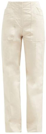 Patch Pocket Flared Cotton Trousers - Womens - Ivory