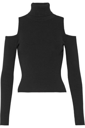 black cold shoulder turtleneck