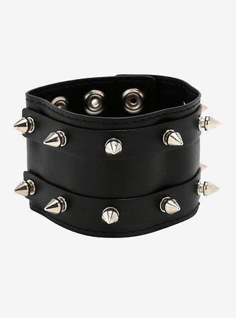Double Row Spike Stud Faux Leather Cuff Bracelet
