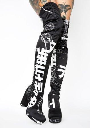 Current Mood Glitch Print Thigh High Boots - Black | Dolls Kill