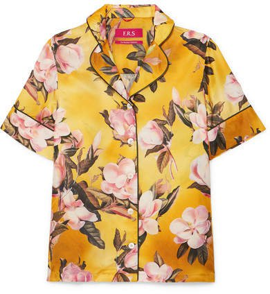 F.R.S For Restless Sleepers - Bendis Floral-print Satin-twill Shirt - Yellow
