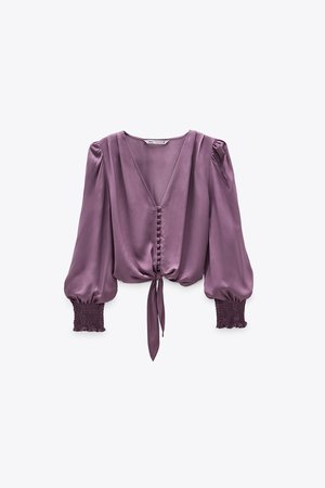 KNOTTED CROPPED BLOUSE | ZARA United States