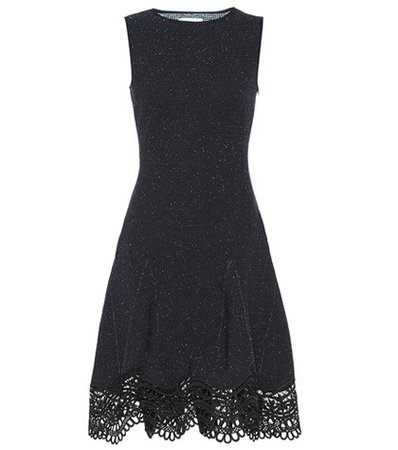 Guipure lace-trimmed tweed dress