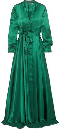 Bow-detailed Embellished Duchesse-satin Gown - Emerald
