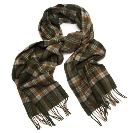 Olive Plaid Cashmere Scarf | Paul Stuart