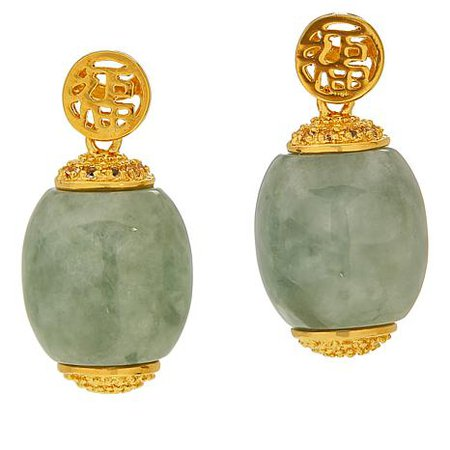 Jade of Yesteryear Glamorous gold-plated barrel drop earring