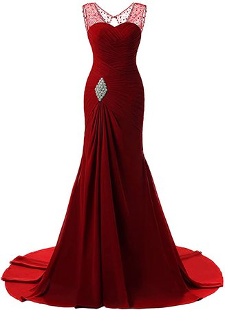 Amazon.com: Lily Wedding Womens Mermaid Prom Bridesmaid Dress Evening Ball Gowns Fed003 20 Burgundy-2: Clothing