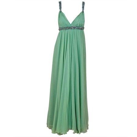 1960's Sarmi Seafoam Green Rhinestone Silk-Chiffon Empire Plunge Grecian Gown