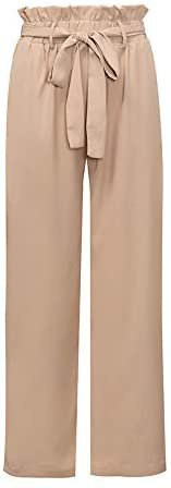 Xintianji Women Frilled Waist Palazzo Cropped Pants Casual Wide Leg Trouser Belted with Pockets(5#Pink, Small) at Amazon Women's Clothing store