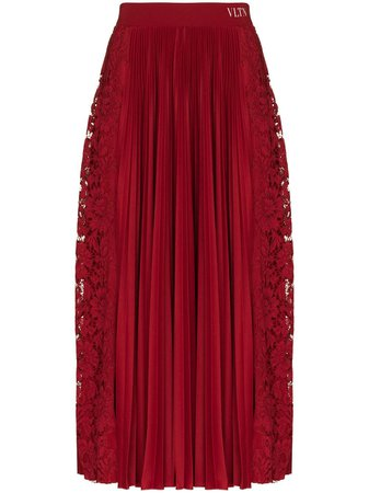 Valentino floral-lace Pleated Midi Skirt - Farfetch