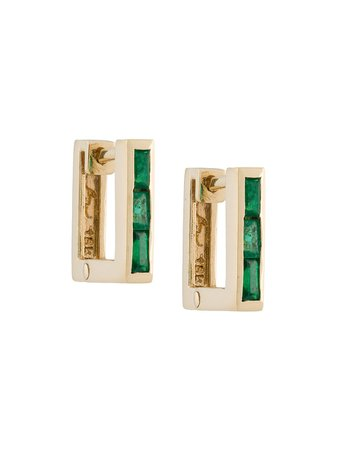 Lizzie Mandler Fine Jewelry petit square emerald 'Huggies' earrings $1,651 - Shop SS19 Online - Fast Delivery, Price