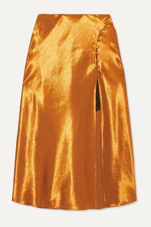 Gold Satin midi skirt | Jonathan Simkhai | NET-A-PORTER
