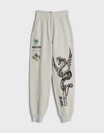 Desenli jogger pantolon - Pantolon - Kadın | Bershka