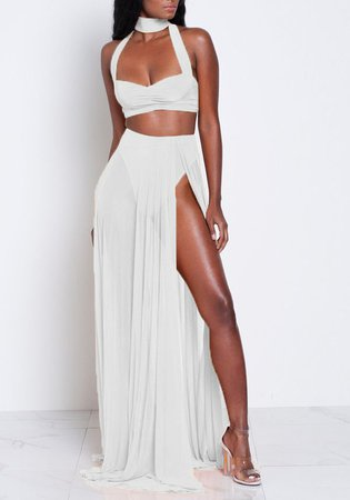 White Backless Cut Out Two Piece Zipper Side Slit Halter Neck Bohemian Maxi Dress