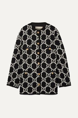 Black Oversized cotton-blend bouclé-tweed jacket | Gucci | NET-A-PORTER