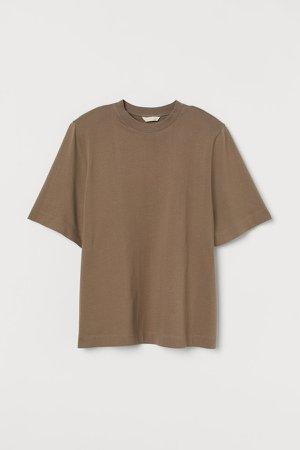 Shoulder-pad T-shirt - Beige