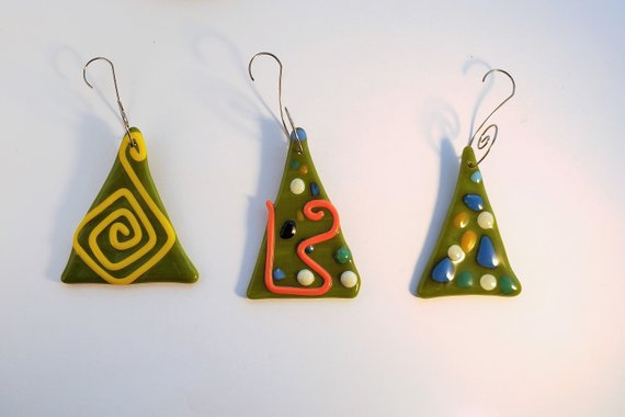Set of 3 fused glass Christmas tree ornaments fused glass | Etsy