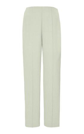 Crepe Slim Leg Green Pants