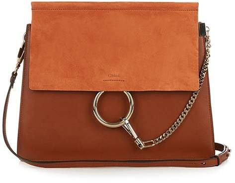 Faye Medium Leather And Suede Shoulder Bag - Womens - Tan