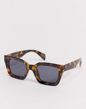 ASOS DESIGN oversized rectangle sunglasses in brown tort | ASOS
