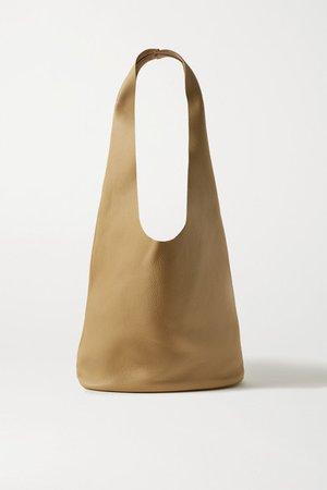 Bucket Hobo Textured-leather Shoulder Bag - Beige