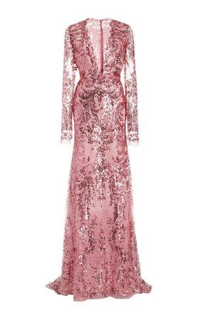 Sequined Chiffon Gown by Naeem Khan   Moda Operandi