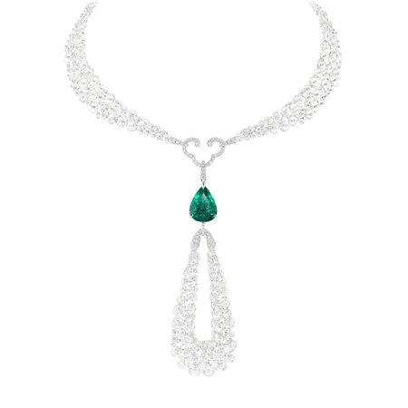 Boghossian, Talisman diamond and flawless 10ct emerald necklace