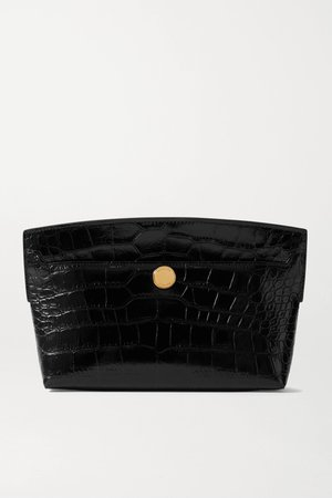 Black Glossed croc-effect leather clutch   Burberry   NET-A-PORTER
