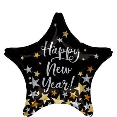 Glitter Black, Silver & Gold 2021 Happy New Year Balloon