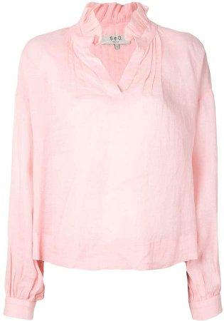 Long-Sleeve Relaxed Blouse