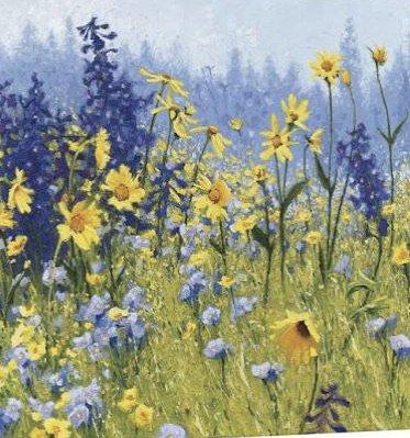 """Joyful in July"" Blue Yellow Flowers Painting Photo Filler Art"