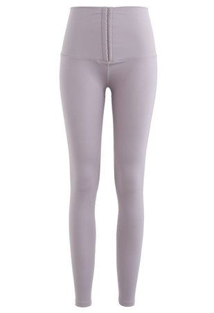 High Waisted Hook and Eye Fastening Leggings in Lilac - Retro, Indie and Unique Fashion