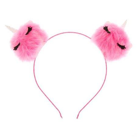 Unicorn Cat Ear Pom Headband - Pink