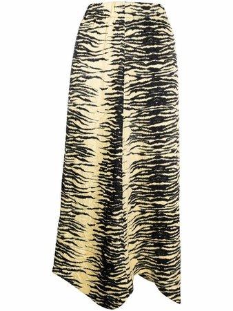GANNI zebra-print midi skirt - FARFETCH