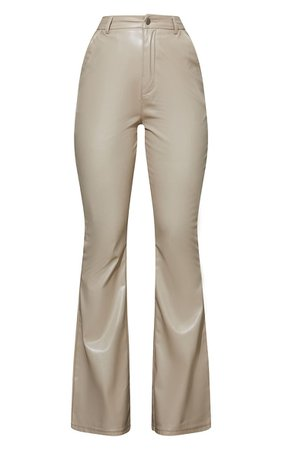 Stone Flared Faux Leather Trousers | Trousers | PrettyLittleThing USA