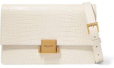 Bellechasse Medium Glossed Croc-effect Leather Shoulder Bag - Cream