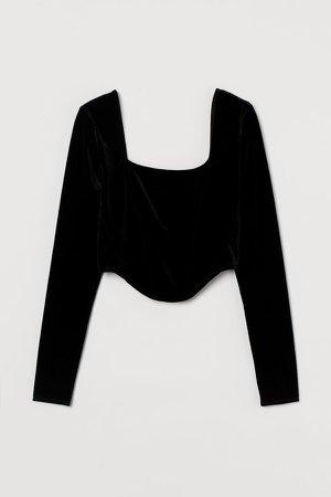 Long-sleeved Short Top - Black