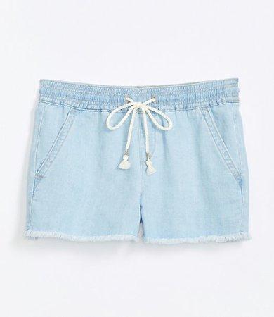 Cotton Linen Denim Pull On Shorts in Light Indigo Wash
