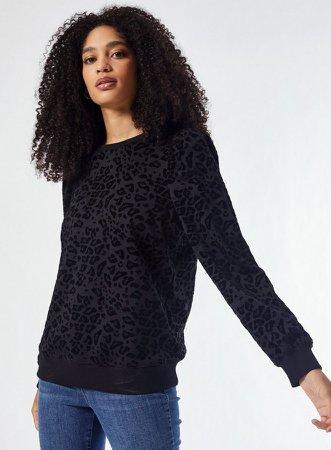 Black Devore Long Sleeve Sweatshirt